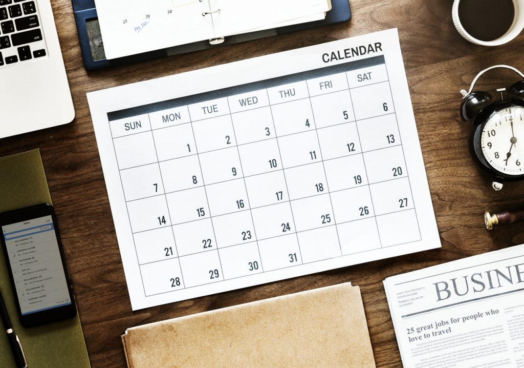 A calendar with nonspecific dates showing that represents when you can book your next workshop